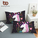 BeddingOutlet Unicorn Body Pillowcase Cartoon Decorative Pillow Case for Kids Girls Cute Pillow Cover Floral Black Bedding 2pcs