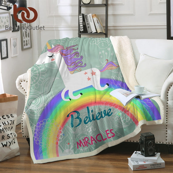 BeddingOutlet Unicorn Rainbow Blanket Believe Miracles Cartoon Plush Throw Blanket on Sofa Bed for Kids Bedding Sherpa Blanket