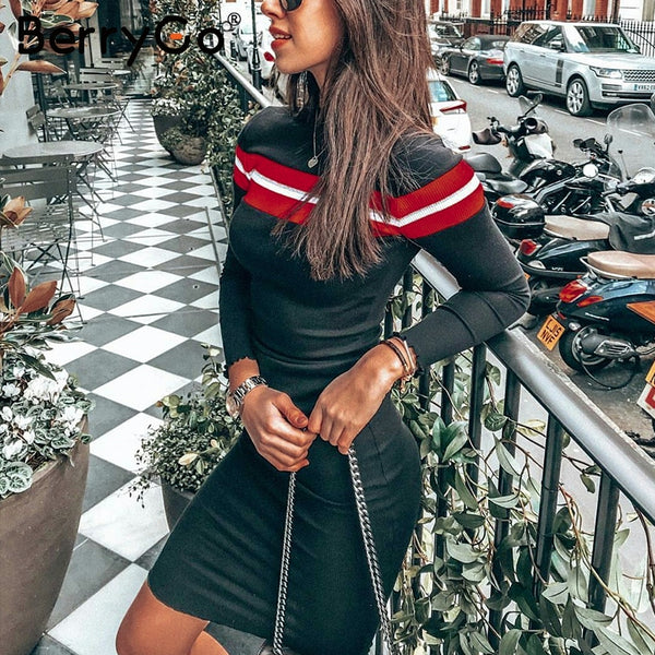 BerryGo Casual striped sweater knitted bodycon dress Women elegant pullover 2018 ladies dresses Autumn winter short dress jumper
