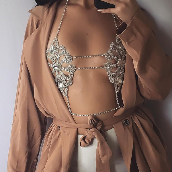 Best lady 2017 Fashion Statement Jewelry Flowers Sexy Body Necklace Chain Bra Necklace Summer Boho Luxury Brassiere Women 5241
