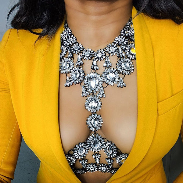 Best lady New Summer Long Body Necklace Chain Sexy Handmade AB Crystal Gem Chunky Maxi Luxury Gem Statement Necklace Femme 3415