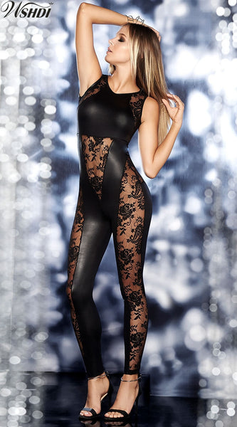 Black PU Leather Jumpsuit Women Skinny Lace Mesh Patchwork Bodysuit Latex Catsuit Fetish Wear Sexy Pole Dance Clothing