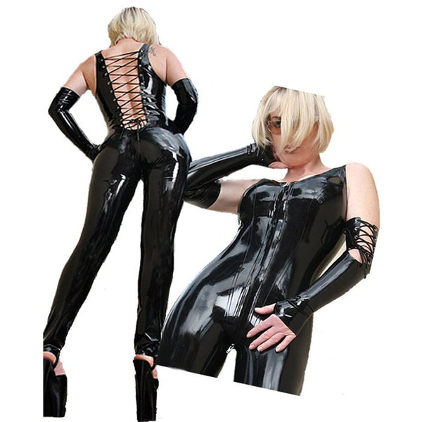 Black Sexy Stripper Clothes Catwomen Sex Women Latex Vinyl Fetish Zentai Rompers Pole Dance Catsuit Erotic Club Party Jumpsuits
