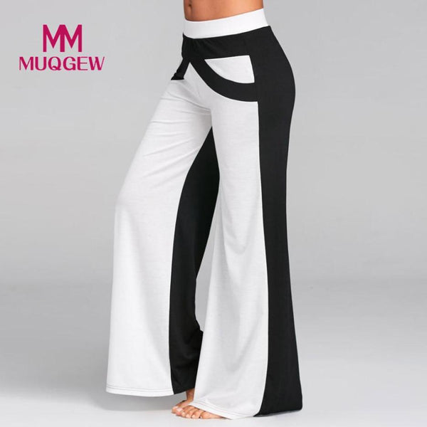 Black and white stitching wide leg pants Women Patchwork Bell Bottoms Flare Trousers Mid Waisted Wide Leg Pants