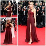 Blake Lively Red Carpet Celebrity Dresses Chiffon High Split Sexy Gossip Girl Dark Red Chiffon Formal Party Dress Open Back