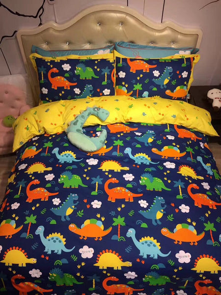 Blue colorful Dinosaur 4Pcs 100% Cotton Queen  size Lovely Cartoon Bedding set Animal Duvet Cover Set Bed sheet Pillowcase fish