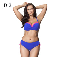 Brand High Quality Ruffle Bandeau Bikini Top High Waist Swimsuit 2016 Women Plus Size Two Pieces Brazilian Swimwear Biquini 6XL