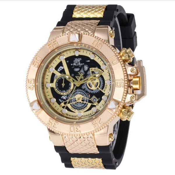 Brazil style High quality Large rotating dial Luxury man multifunction Calendar run seconds Quartz watch