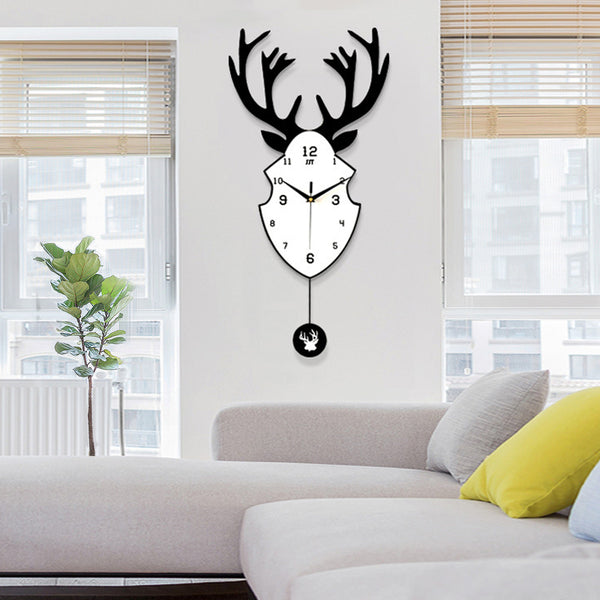 Brief Natural Wooden Deer Wall Clock Statue Northern Europe Modern Quartz Needle Big Watch Hanging The Wall Clock Art Decoration