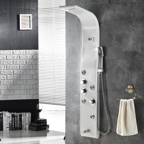Brushed Nickle Wall Mounted Shower Panel  5-Function Waterfall Rainfall Massage Jets tub spout Shower set With Shower handle