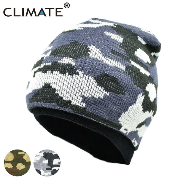 8e67b2b4753 CLIMATE Men Camo Beanie Camouflage Winter Hat Man Cap Army Warm Beanie  Knitted Hat Hunting Fishing