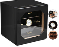 COHIBA Luxury Cedar Wood Cigar Humidor Cabinet Storage Box W/ 3 Drawers Hygrometer Humidifier