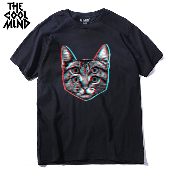 COOLMIND qi0410A 100% cotton funny short sleeve men T shirt casual cat cool mens tshirt male fashion t-shirt tee shirts