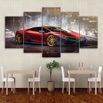 Canvas Painting Frame Home Decor Pictures 5 Pieces Red Luxury Sports Car Huracan Posters HD Printed Living Room Wall Art Poster