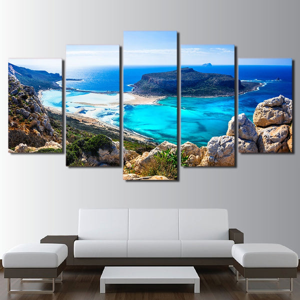 Canvas Paintings For Living Room Modular HD Prints Pictures 5 Pieces Blue Sea Beach Island Seascape Posters Home Wall Art Decor