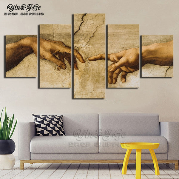 Canvas Pictures Modular Wall Art 5 Pieces Creation of Adam Hand of god Abstract Painting HD Print Decor Living Room Framework
