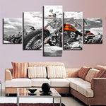 Canvas Pictures Poster Modular Prints Wall Art Framed 5 Pieces Motorcycle Black And White Painting Decor Living Room Or Bedroom