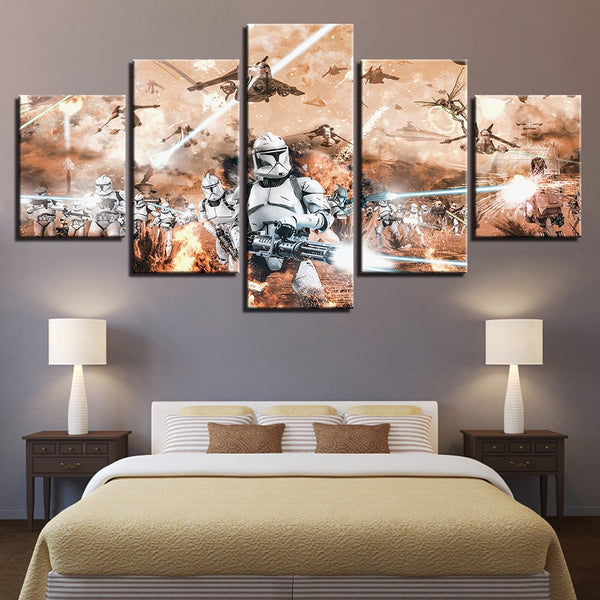 Canvas Pictures Wall Art Framework HD Prints Paintings 5 Pieces Stormtrooper Star Wars Movie Poster Home Decor For Living Room