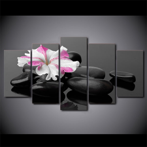 Canvas Wall Art Poster Modular HD Prints Pictures 5 Pieces Spa Stones And Flower Paintings For Living Room Home Decor Framework