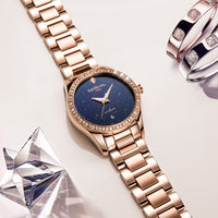 Deep Blue Luxury Brand Rose Gold Women Watch