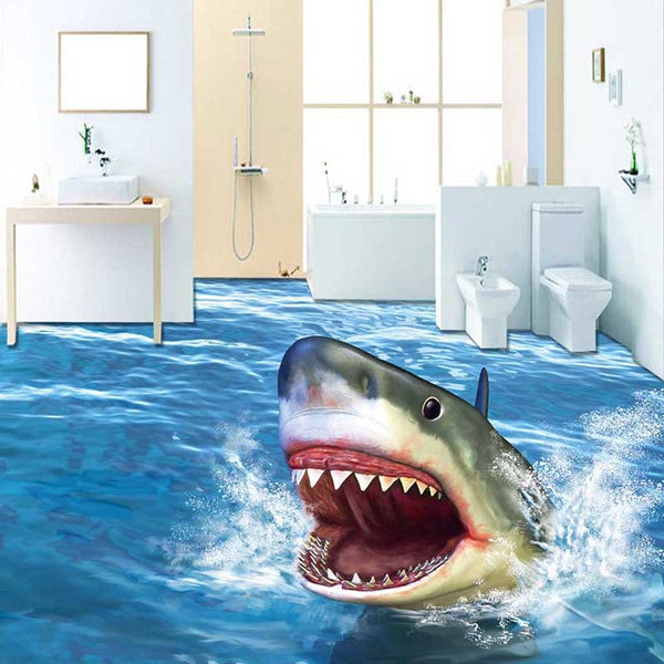 Cartoon 3D Sharp Jump Ocean Wall Decals Waterproof Animals Home Decor Wall Stickers Murals Bedroom Ceiling Bathroom Floor #107