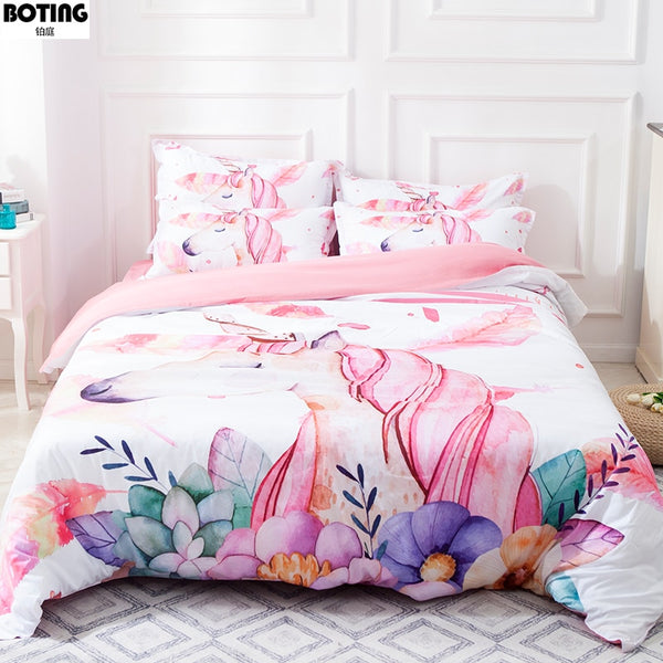 Cartoon Unicorn Bedding Set 3pcs flowers Duvet Cover Sets quilt cover pillow cases Chromatic pink white soft bedclothes