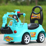 Children Construction Excavator with Music Baby Walker Car Plastic Kids Ride on Toys Car Boys Four Wheels Hydraulic Excavator