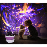 Children Night Lights Projector Rotation LED Lamp Battery Starry Star Master Kids Baby Sleeping Lighting Novelty Romantic Lamp