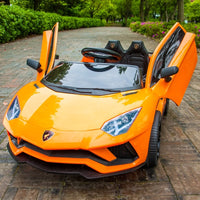 Lambo Children's Electric Car four wheeled with Remote Control baby car 1-3 toys 4-5 years old can seat two people.