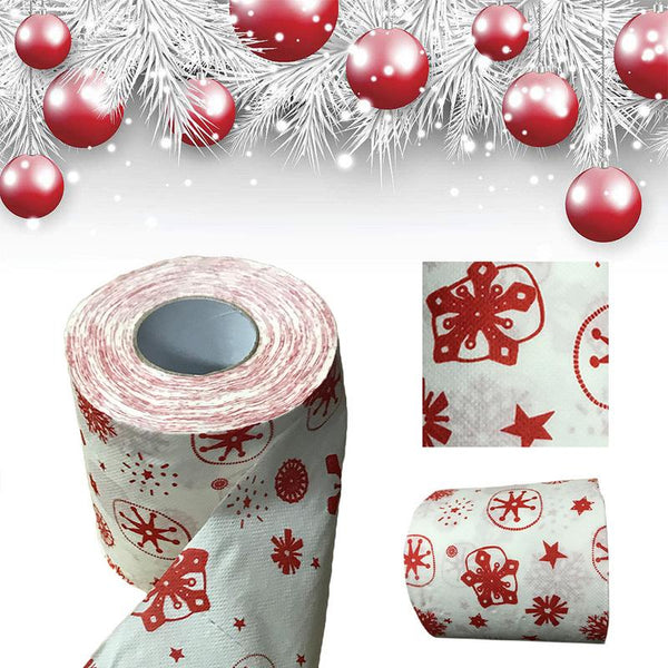 Christmas Style Printed Kitchen Roll Paper Roll Christmas Pattern Toilet Paper Household Cleaning Kitchen Supplies Paper Towel