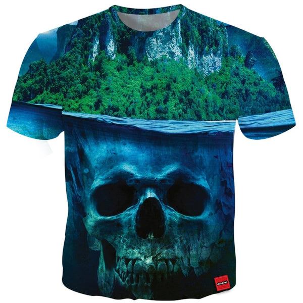 Cloudstyle 2018 Summer Skulls 3D Tshirt Short Sleeve Men's Top Tees Cool Summer Outwear Euramerican Style Tees Plus Size 5XL