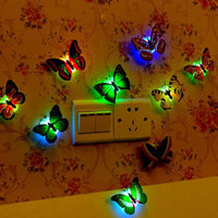 1 Colorful LED Nigh Light Butterfly Shape Wall Paste Home Decor For Kids Room Durable Energy-Saving Decorative Lamp