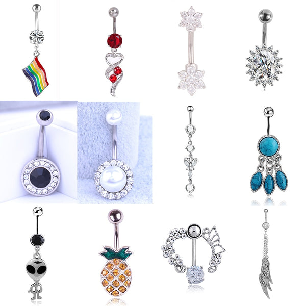Colorful Nature Crystal Zircon Rhinestone Navel Piercing Stainless Steel Heart Belly Button Rings Sexy Body Jewelry For Women