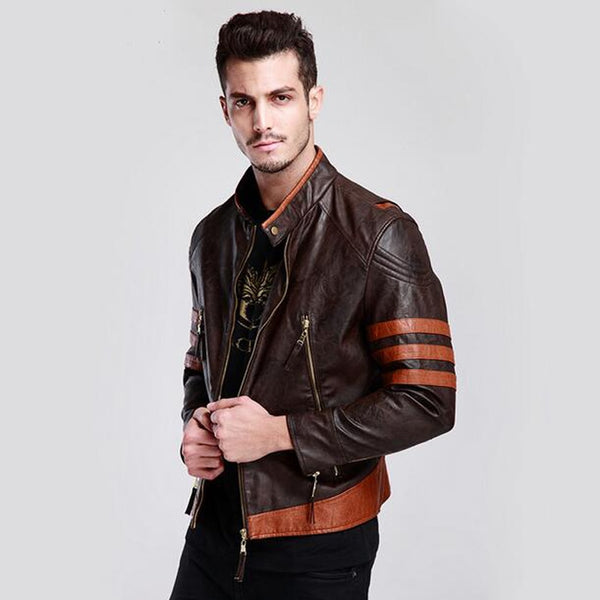 Cosplay Clothing Stage Wear Men's Faux Leather Jackets 2017 Vinatage Leather Suede Short Wolverine Logan Motorcycle Jackets C365
