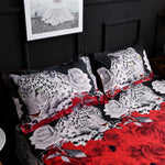 Cotton 3D Leopard Rose Cartoon Style Fashion Bedding Bed Linen Bed Sheet Duvet Cover Pillowcase 2/3/4pcs Bedding Sets King Queen