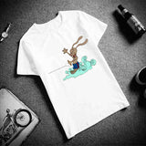 Couple Shirt Funny Rabbit Surf & Girl And Dog Printed Short Sleeve. 1pc