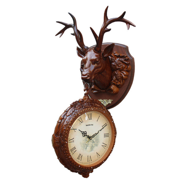Crafts Arts Home decoration Wall hanging wall clock deer double clock clock hanging on both sides of the retro European creative