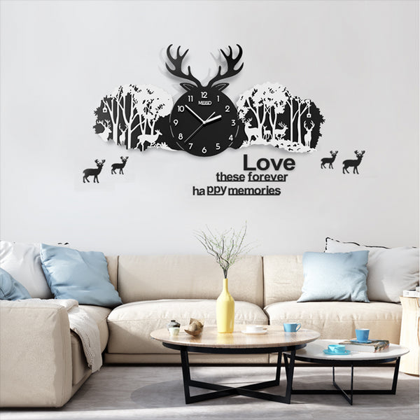 Creative Acrylic Deer Forest Shape Large Clocks Handmade Personality Needle Quartz 3D Landscape Watch Wall Clock Home Decoration