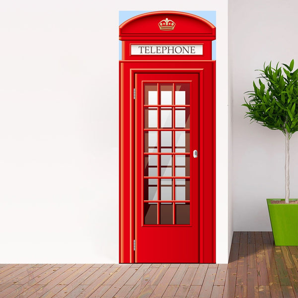 Creative DIY 3D Door Stickers Telephone Booth Pattern for Kids Room Decoration Accessories Home Decor Large Wall Stickers