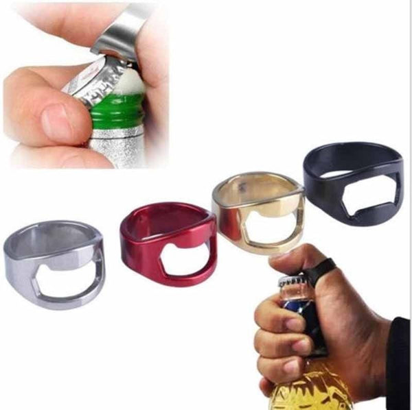 Creative Stainless Steel Beer Openers Finger Ring Ring Shape Beer Bottle Opener Bar Tools
