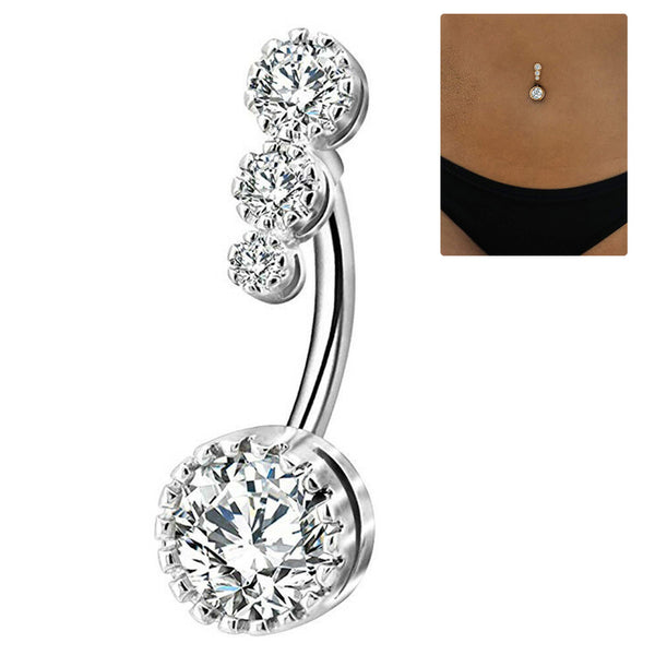 Crystal Belly Button Rings Bar Barbell Drop Dangle Body Piercing Navel Rings Surgical Nombril Ombligo Women Men Body Jewelry