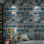 Culture Stone 3D Red Green Brick Wallpaper Waterproof Wall Background for Living Room PVC Wall Paper Roll Stereoscopic Look