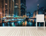 Custom 3d murals,Skyscrapers River Chicago city Night Street lights city wallpapers,living room TV wall bedroom papel de parede
