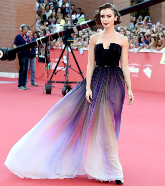Custom Made Lily Collins Red Carpet Dress Long Colorful Chiffon Prom Party Dress Sexy Backless Evening Formal Dress