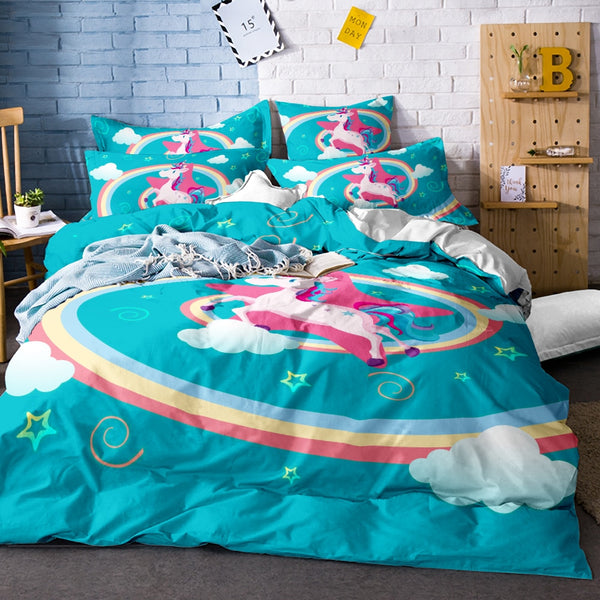 Cute Unicorn Bedding Set Cartoon Duvet Cover Twin Full Queen King Size 3PCS Bedclothes