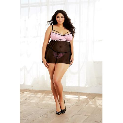 Stretch Lace & Spandex-Mesh Babydoll w/Underwire & Adjust Straps & Thong Black/Vintage Pink 1X