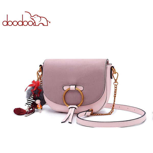 DOODOO Women Shoulder Bags Ladies Solid Messenger Bag Female Small Chain Artificial Leather Small Saddle Crossbody Bag New Purse
