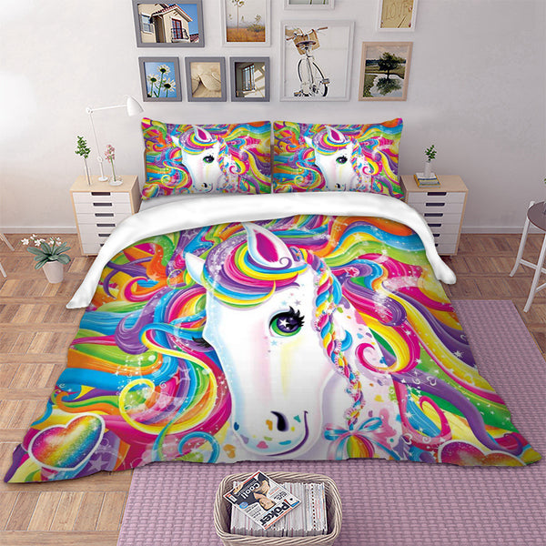 Unicorn Bedding Set Duvet Cover Pillow Cases Twin Full Queen King Size Kids Bed Cover