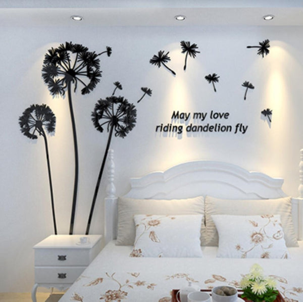 Dandelion New 3d stereo wall stickers acrylic crystal TV backdrop wall art Mural Decals living room bedroom Decorative sticker