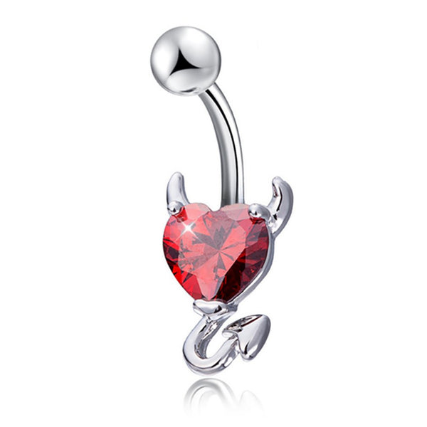 Devil Heart Zircon Piercing Navel Surgical Belly Button Rings Navel Piercing Belly Button Ring For Women Jewelry Fashion Navel